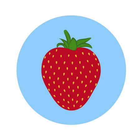 Fresh strawberry fruit in blue circle. flat design. vector illustration