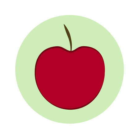 Vector red apple isolated on white background. Red apple in light green circle. Flat design.