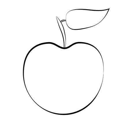 White apple with black stroke on white background. Apple silhouette. vector illustration