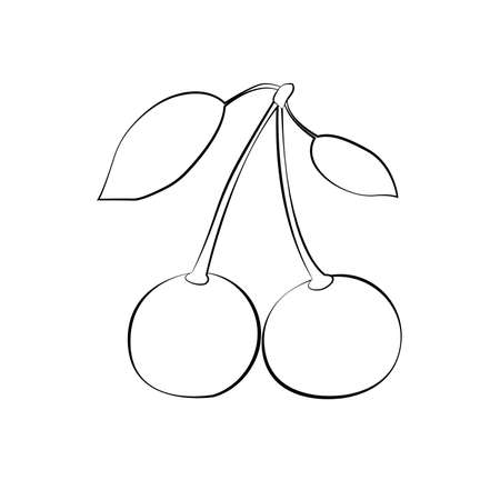 White cherry silhouette and leaves with black stroke. Flat design. Vector illustration