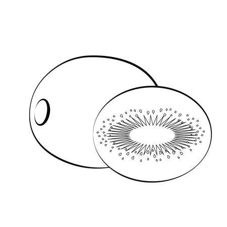 Flat icon kiwi and slice of kiwi. White with black stroke. Kiwi silhouette. Vector illustration.