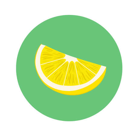 Fresh slice of lemon fruit in green circle. flat design. vector illustration