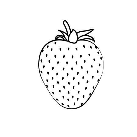 Beautiful black strawberry silhouette with black stroke. Vector illustration. White background