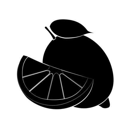 Vector illustration of black lemon silhouette with white stroke. Flat design Illustration