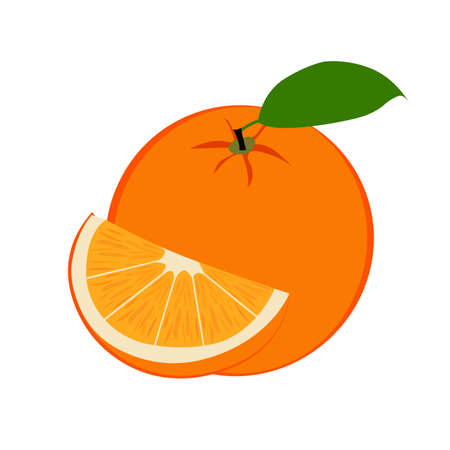 Fresh ripe orange fruit and slice with leaf. Illustration