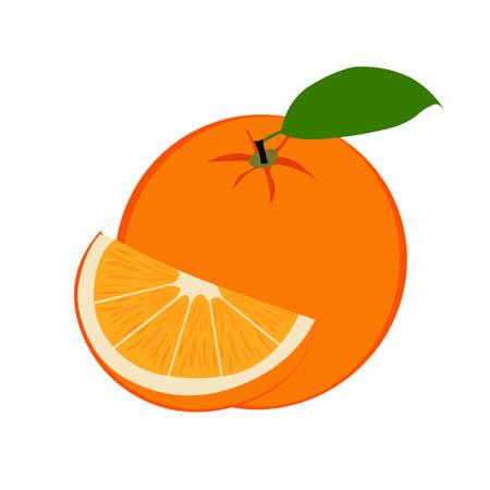 Fresh ripe orange fruit and slice with leaf. Illustration