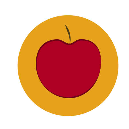 Vector red apple isolated on white background Red apple in orange circle, Flat design.