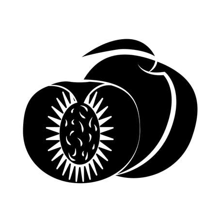 Peach fruit and slice with leaf on a white background in black fruit with white stroke vector Illustration