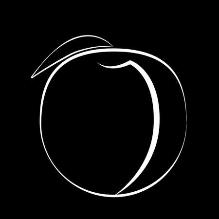 Peach fruit with leaf on a black background in black fruit with white stroke vector