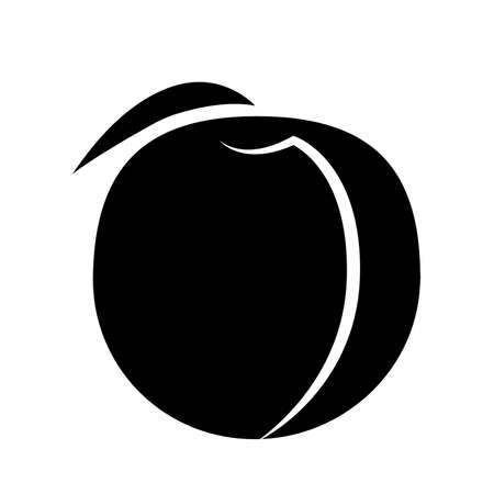 Peach fruit with leaf on a white background in black fruit with white stroke vector Illustration