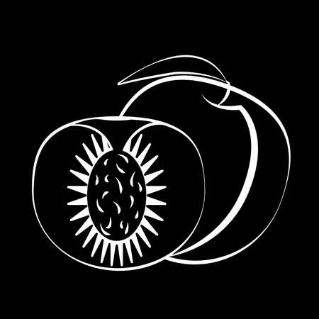 Peach fruit and slice with leaf on a black background. Black fruit with white stroke. Vector