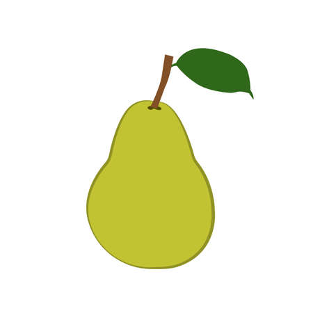 Fresh green pear with green leaf icon Vector Illustration