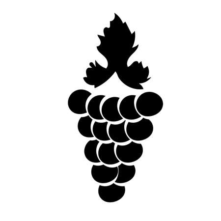 Bunch of wine grapes with leaf flat black silhouette icon for food apps and websites