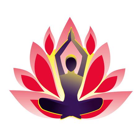 Yoga pose lotus, vector illustration Stock Vector - 24468972