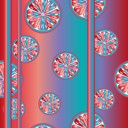 range fruit: seamless bright blue-and-red pattern of multi-colored orange Illustration