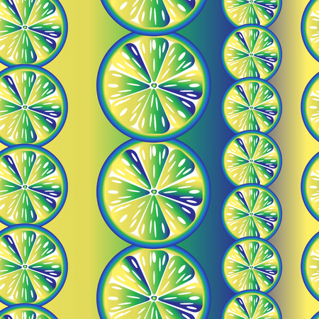 range fruit: seamless bright yellow-blue pattern of multi-colored orange Illustration
