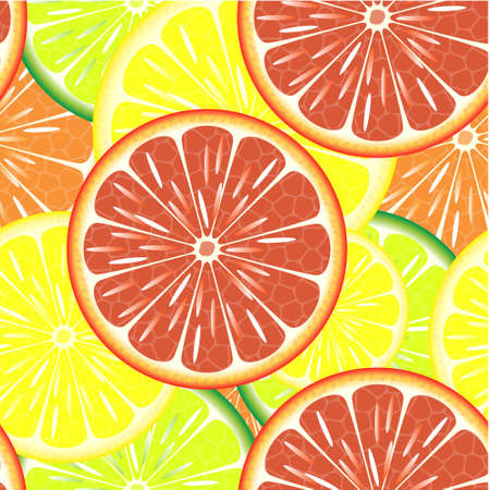lemon lime: seamless pattern of orange, lemon, lime and grapefruit Illustration