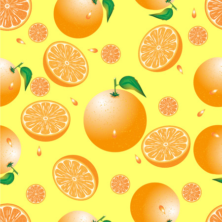 seamless pattern of orange on a yellow background