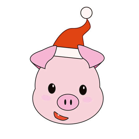 Christmas pink pig in a Santa hat. 스톡 콘텐츠 - 114953859
