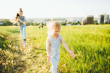 Little girls are studying the world of insects in the green grass on the field during the summer holidays.