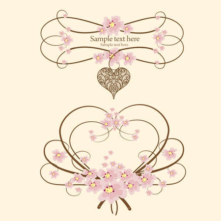 wedding wishes: Ornamental frame heart with place for your text