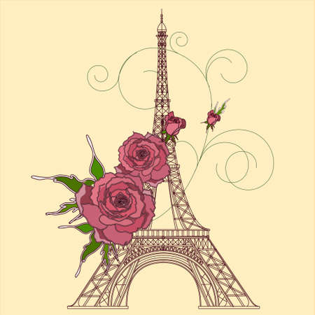 touring: illustration of Eiffel tower with roses Illustration