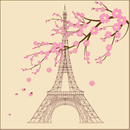 metal spring: Vector illustration of Eiffel tower Illustration