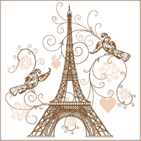 floral letters: illustration of Eiffel tower