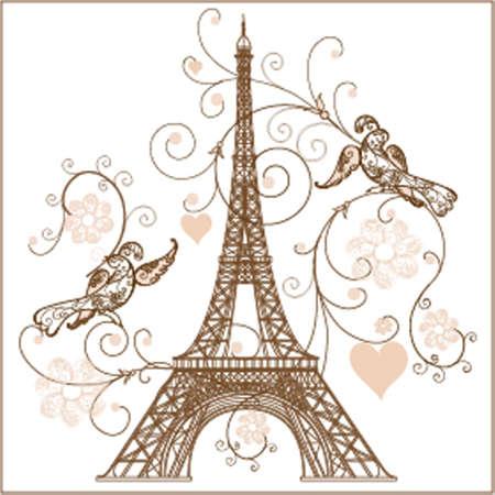 paris vintage: ilustración de la torre Eiffel Vectores