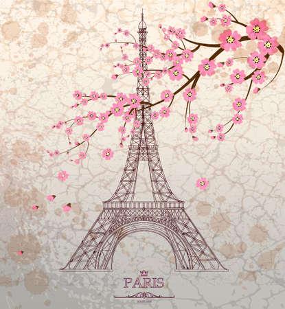 Ilustración de la vendimia de la torre Eiffel en el fondo del grunge
