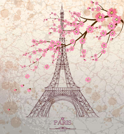 postcard background: Vintage illustration of Eiffel tower on grunge background Illustration