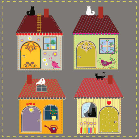 Set of four decorative houses Vector