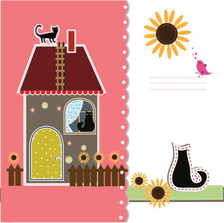 Postcard with decorative house and a cat Vector