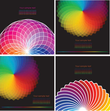 chromatic color: Set of four abstract background with spectrum wheels Illustration