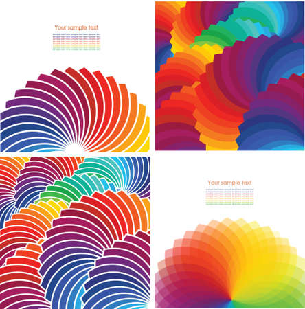 concentric circles: Set of four abstract background with spectrum wheels Illustration