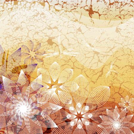 grange: Flower on grange background Illustration
