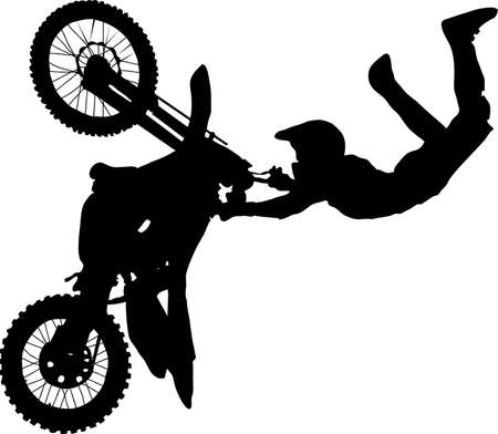 Silhouette of motorcycle rider performing trick Vector