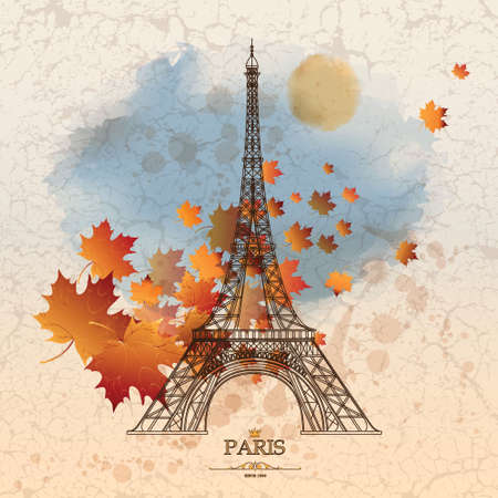Vintage vector illustration of Eiffel tower on grunge background with autumn leaves