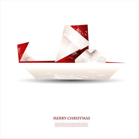 Merry christmas greeting card - illustration with Santa claus in origami style Vector