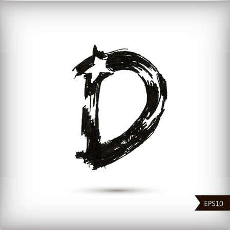 Calligraphic watercolor letter D Vector