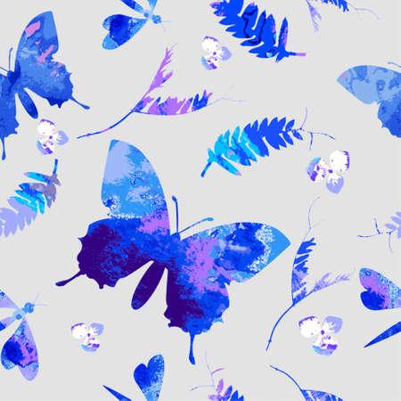 schmetterlinge blau wasserfarbe: Blumenaquarell-Textur-Muster mit Schmetterlingen