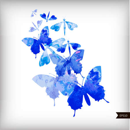 butterflies abstract: Abstract watercolor background with butterflies