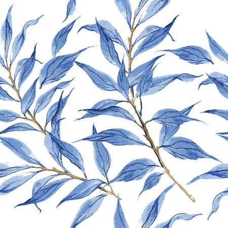 Hojas azules vector patrón textura de acuarela. Ilustración de vector