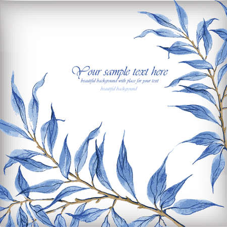Watercolor illustration with blue leaves. Illustration