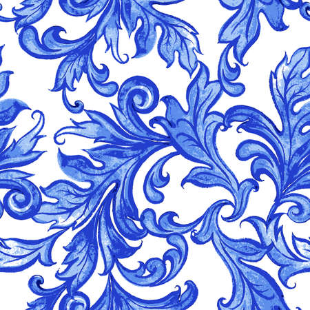 Vector blue floral watercolor texture pattern with flowers.