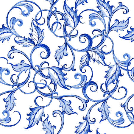 ornamental: Vector floral watercolor texture pattern with flowers.Watercolor floral pattern.Blue flowers pattern