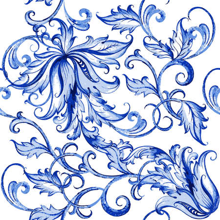 Vector floral Aquarell Textur Muster mit floralen flowers.Watercolor pattern.Blue Blumenmuster Vektorgrafik