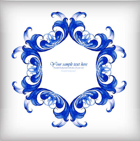 gzhel: Watercolor blue vector background. Gzhel detailsΠIllustration