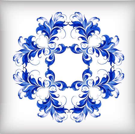blue flowers: Watercolor blue vector background.Gzhel details.Vector illustrationÂŒ