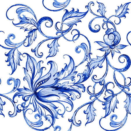 fabric painting: Vector floral watercolor texture pattern with flowers.Watercolor floral pattern.Blue flowers pattern.Seamless pattern can be used for wallpaper,pattern fills,web page background,surface textures